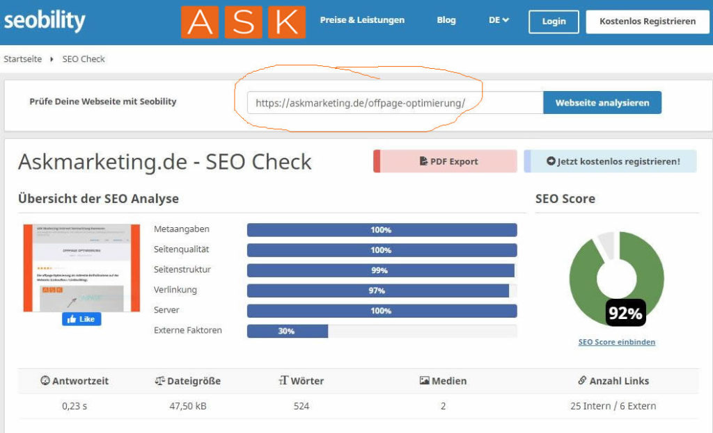 ASK Marketing offpage Optimierung