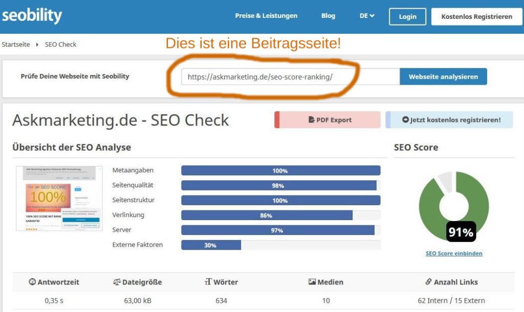 SEO Score Ranking Check Ergebnis