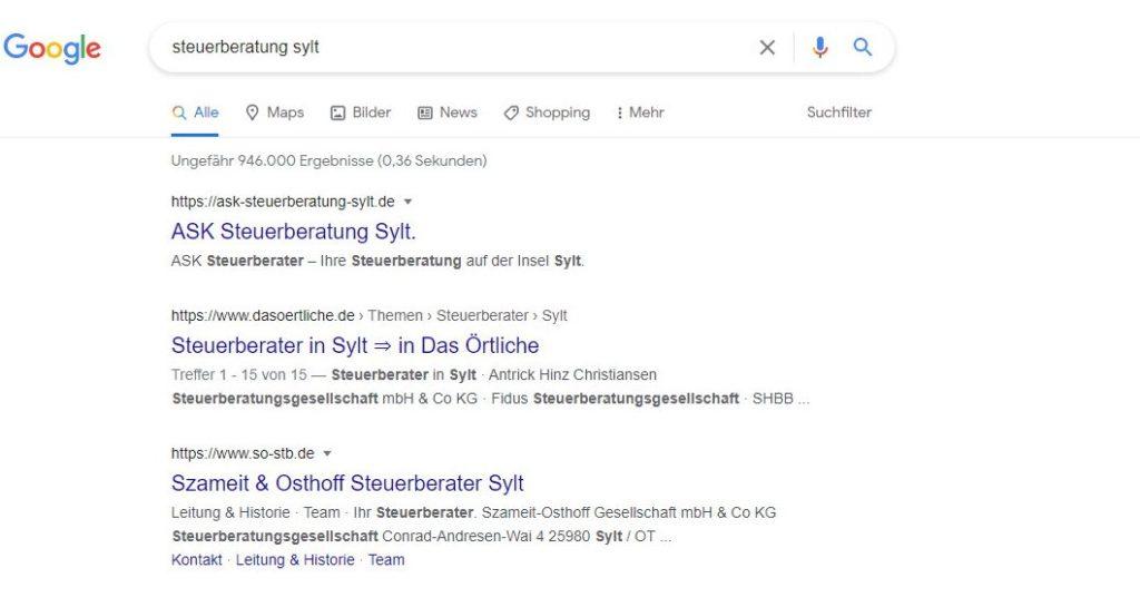 steuerberatung sylt google ergebnis